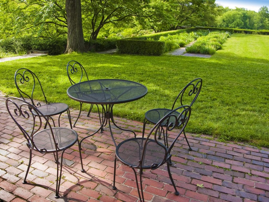Aluminum Chairs and Table on Patio